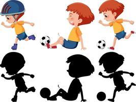 conjunto de um personagem de desenho animado de menino fazendo atividades diferentes com sua silhueta vetor