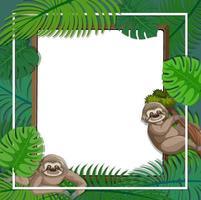 banner vazio com quadro de folhas tropicais e personagem de desenho animado de preguiça vetor