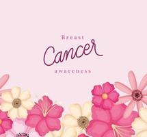 flores para design de vetor de conscientização do câncer de mama