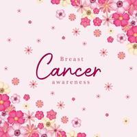 flores rosa para design de vetor de conscientização do câncer de mama