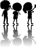 conjunto de silhueta infantil com reflexo vetor