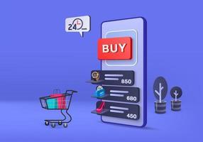 Renderização 3D para venda, compras de comércio eletrônico on-line, comércio eletrônico móvel com fundo azul pastel 3D vetor