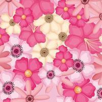 desenho de vetor de fundo de flores rosa e amarelo