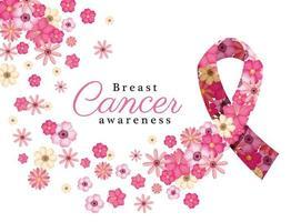 flores cor de rosa em fita para design de vetor de conscientização do câncer de mama