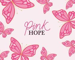 borboletas para desenho vetorial de esperança rosa vetor
