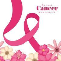 fita rosa com flores para design de vetor de conscientização do câncer de mama