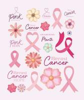 conjunto de ícones para conscientização do câncer de mama e design de vetor de esperança rosa