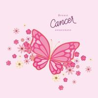 borboleta rosa com flores para design de vetor de conscientização do câncer de mama
