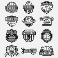 Conjunto de emblemas e logotipos do clube de basquete vetor