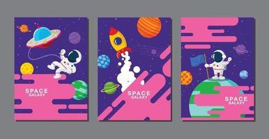 conjunto de modelos de banner. universo, galáxia espacial, design. ilustração vetorial vetor
