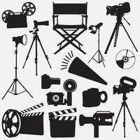 conjunto de modelos de design de vetor de equipamentos de filme