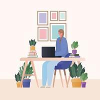 mulher com laptop trabalhando no desenho vetorial de mesa vetor