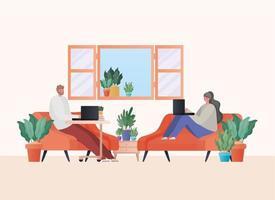 homem e mulher com laptop trabalhando no desenho vetorial de sofás laranja vetor