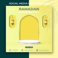 banner de marketing de venda do Ramadã. modelo de postagem de mídia social editável. 3D Ramadan Kareem com pódio. vetor