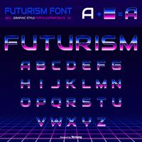 Alfabeto brilhante dos anos 80 Retro Futurismo gráfico vetorial de estilo vetor