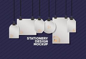 pacote de modelos de maquete de papelaria moderno vetor