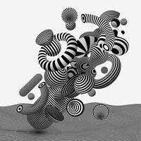 vetor abstrato geométrico linha-arte base. elegantes elementos de design vibrante na moda. arte gráfica hipnótica op-art com listras pretas e brancas sobre fundo branco.