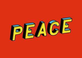 Letras 3D da paz em desenho vetorial de fundo vermelho vetor