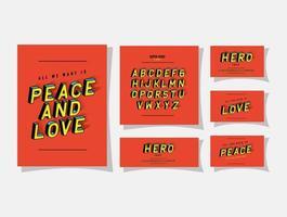 Letras e alfabeto 3D de paz e amor em design de vetor de fundos vermelhos