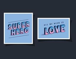 Super-herói 3D e letras de amor em design de vetor de fundos azuis