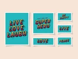 3D amor ao vivo, rir e ser feliz, letras em design de vetor de fundos azuis