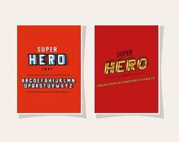 Letras de super-herói 3D e alfabeto em design de vetor de fundos vermelhos