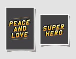 3D paz e amor e letras de super-herói em design de vetor fundos cinza