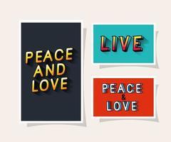 3D paz e amor e letras ao vivo em fundos cinza azul e vermelho desenho vetorial vetor
