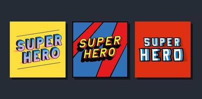 Letras de super-herói 3D definidas em design de vetor de fundos coloridos