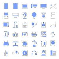 ícones de eletrodomésticos de linha colorida. vetor