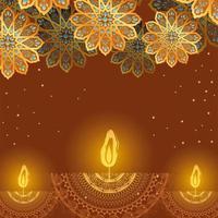 feliz velas diwali e flores de arabescos dourados em design de vetor de fundo marrom
