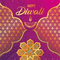 feliz diwali vela flores arabescos dourados e quadros em design de vetor de fundo gradiente rosa e roxo