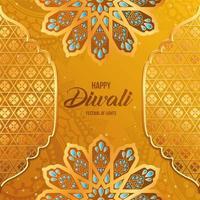 feliz diwali ouro arabesco flores e frameson laranja com desenho de vetor de fundo de mandalas