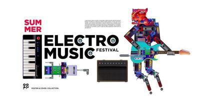 cartaz do festival de música eletrônica e design de banner vetor