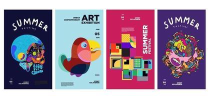 exposição de arte e cultura de verão design de pôster colorido vetor