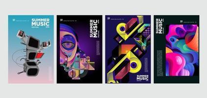 conjunto de cartazes de música e festival de arte nas férias de verão vetor