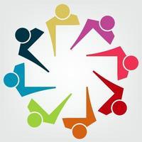 pessoas coloridas abstratas em um círculo, reunião de trabalho em equipe, pessoas se reunindo na sala. vetor