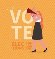 cartoon mulher com megafone para o dia das eleições vetor