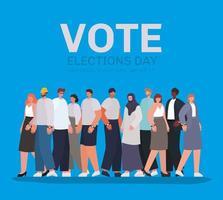 desenho de pessoas com letras de voto para o dia das eleições vetor