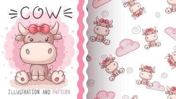 personagem de desenho animado fofo animal vaca vetor