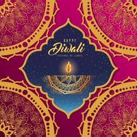 cartão de vela de diwali feliz com fundo de mandala de arabescos vetor