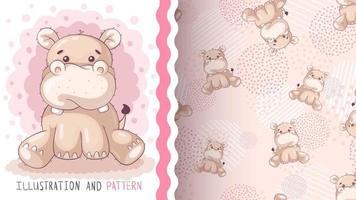 hipopótamo animal de personagem de desenho animado infantil vetor