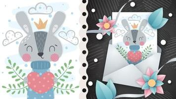 coelho animal de personagem de desenho animado infantil com coração vetor