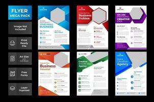 modelo de folheto de negócios de vetor definido com redemoinhos coloridos