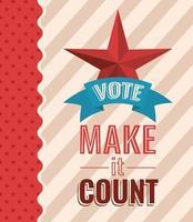 vote e faça valer com design vetorial estrela e fita vetor