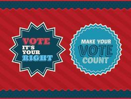 dois selos de voto em design de vetor de fundo vermelho e listrado