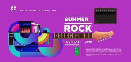 banner festival de música rock de verão vetor