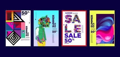 modelo de banner de promoção de desconto de moda e música de verão vetor