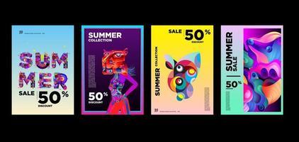 modelo de banner de promoção de desconto de moda e música de verão