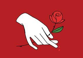 mão branca segurando rosa vetor